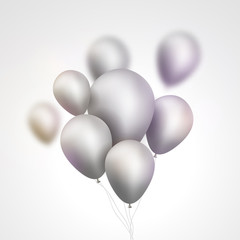 Silver Balloons bunch. Set of festive silver gray balloons. Holiday birthday event template