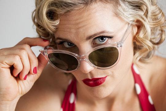 Beautiful Retro Pinup Girl Wearing Sunglasses Portrait