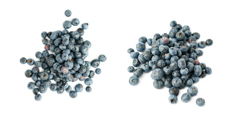Pile of Bilberry or blueberry over isolated white background