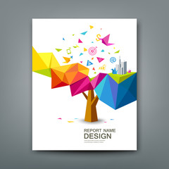 Cover report tree colorful geometric with bird paper with business icons concept design