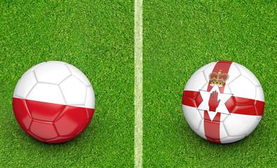 Team balls for Poland vs Northern Ireland football tournament match, 3D rendering
