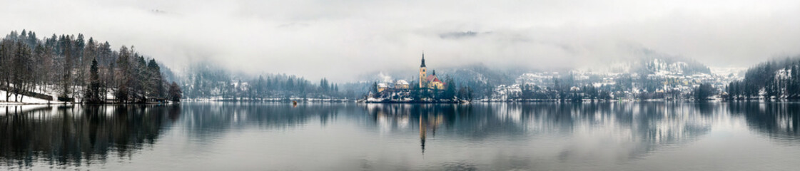 Panoramic view of Bled lake in the morning, Slovenia