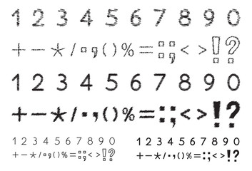 Set of numbers 1, 2, 3, 4, 5, 6, 7, 8, 9, 0, mathematical and punctuation signs, stylized,  black isolated on white background, vector illustration.