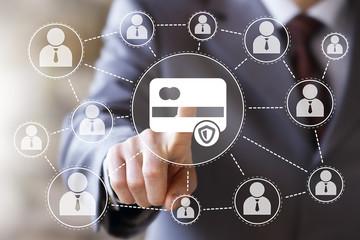 Businessman pressing button credit card antivirus security shield icon