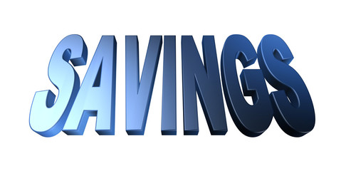 3D savings text on white background
