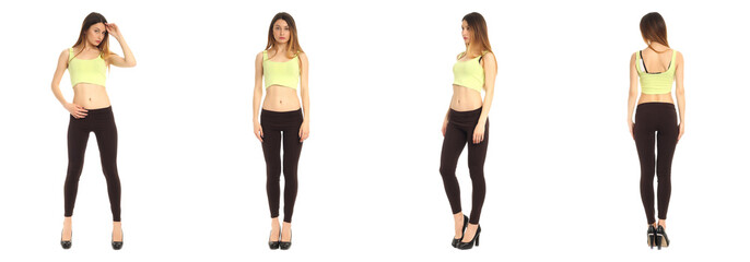 Young and beautiful student in black leggings isolated