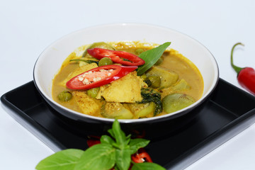 Thai food green curry with chicken