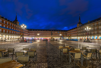 Night view of Plaza Mayor in Madrid , Spain
