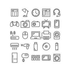 Collection of thin linear icons. Household and office appliances