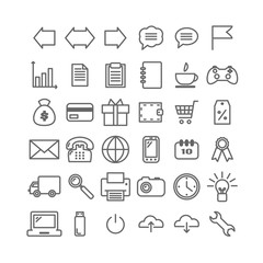 Collection of 36 universal linear icons. Thin icons for print, web, mobile apps design