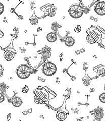 print, black and white seamless pattern with motorbike, bicycle, scooter. Vector illustration