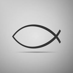 Christian fish icon on grey background.