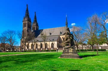 Neo Gothic Basilica of St Peter and St Paul in Vysehrad fortress in Prague, Czech Republic