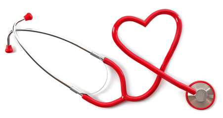 Medical stethoscope in a heart shape isolated on white