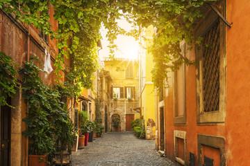 Old street in Trastevere in Rome