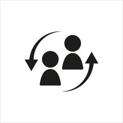 Staff turnover icon in simple black design