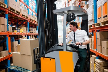 Warehouse manager using a forklift