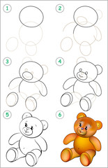 Page shows how to learn step by step to draw a teddy bear. Developing children skills for drawing and coloring. Vector image.
