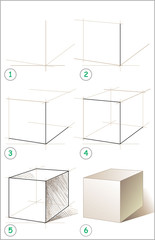 Page shows how to learn step by step to draw cube. Vector image.