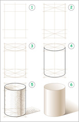 Page shows how to learn step by step to draw cylinder. Vector image.