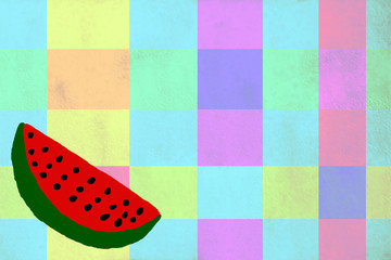 Funny drawing of a watermelon background