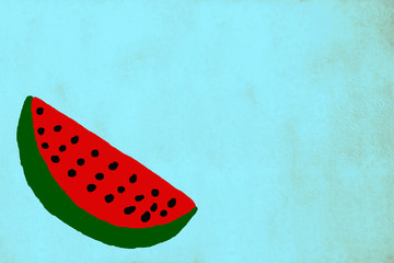 Funny watermelon on turquoise  background