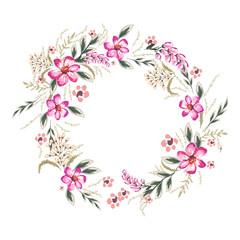 Wreath with hibiskus flowers