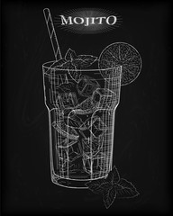 Nice mojito of ice cold glass on a black background. Soda with w
