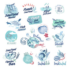 Set of hand drawn watercolor labels and badges of seafood. Vector illustrations for menu, food and drink, restaurant and fish market.