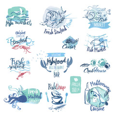 Set of hand drawn watercolor labels and elements of seafood. Vector illustrations for menu, food and drink, restaurant and fish market.