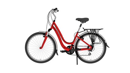 Red bicycle, bike isolated on white background, side view