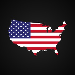 United states of America map with the flag inside. Silhouette usa map and flag on dark background.