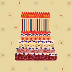 Birthday cake with fifteen candles. Fifteen years