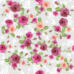 Floral pattern on pastel peach background