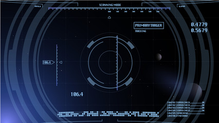 Computer panel of human space ship design. Vector. Background and UI graphics on different layers