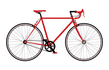 Classic town, road singlespeed bicycle, detailed vector illustration.