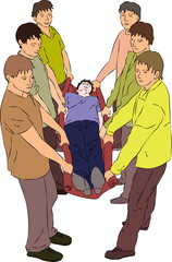 First aid - carry injured person on blanket