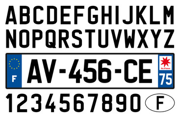 french car plate, symbols, letters and numbers