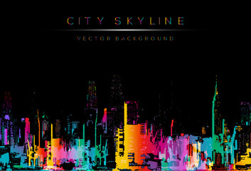 runge style vector art, colorful city night skyline illustration.