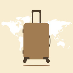 Suitcase. Icon suitcase. Suitcase illustration on a world map ba