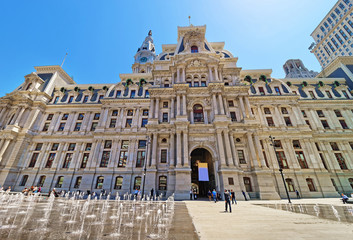 Philadelphia City Hall with a fountain on Penn Square