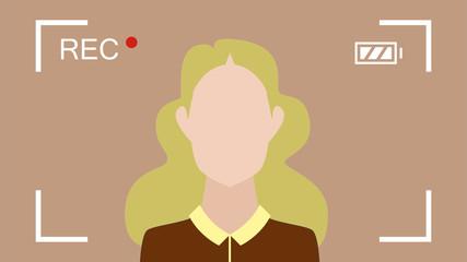 blonde Frau vor der Kamera