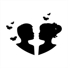 Silhouette of children and butterflies. Black isolated on white color background. Vector