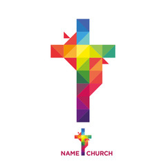 Template logo Christian Cross stylized youth