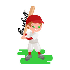 Happy boy playing baseball, kids sport, childrens activity vector illustration