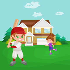 Happy boy playing baseball, kids sport, childrens activity vector illustration