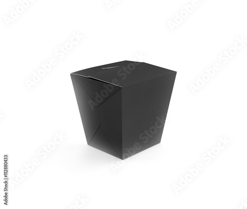 Closed black blank wok box mockup stand isolated, 3d rendering ...