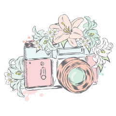 Vintage camera with flowers. Vector illustration.