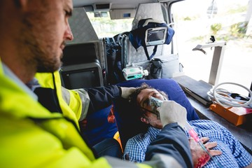 Injured man with ambulance man