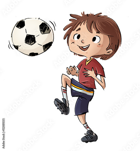 Nino Jugando A Futbol Con Pelota Stock Photo And Royalty Free